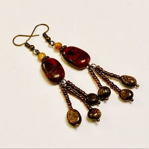 Brecciated Jasper Bronzite MOP Beaded Earrings